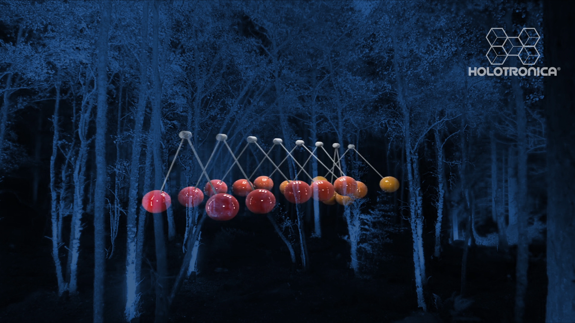 balls in blue forest sound vvisual installation